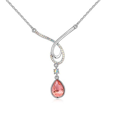 Fashion Plum Red Water Drop Shape Pendant Design Austrian Crystal Crystal Necklaces