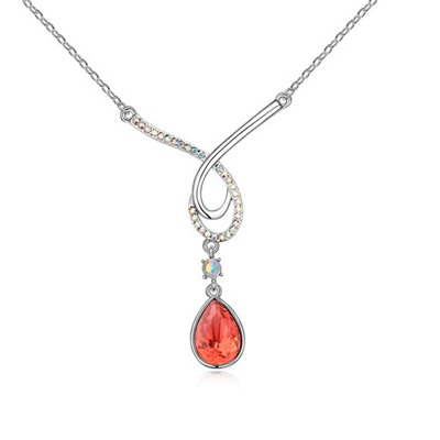 Dash Padparadscha Water Drop Shape Pendant Design Austrian Crystal Crystal Necklaces