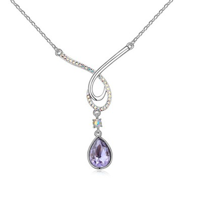 Expression Tanzanite Water Drop Shape Pendant Design Austrian Crystal Crystal Necklaces