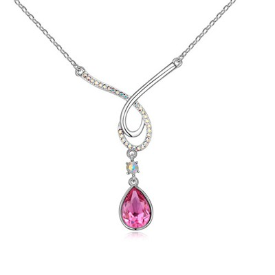 Plaid Plum Red Water Drop Shape Pendant Design Austrian Crystal Crystal Necklaces