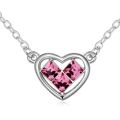 Crinkle Plum Red Heart Shape Pendant Design Austrian Crystal Crystal Necklaces