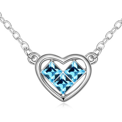 Collapsibl Navy Blue Heart Shape Pendant Design Austrian Crystal Crystal Necklaces
