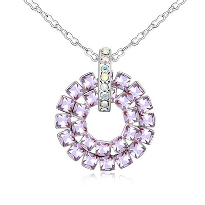 Statement Violet Concentric Circles Pendant Design Austrian Crystal Crystal Necklaces