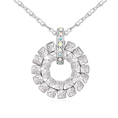Detachable White Concentric Circles Pendant Design Austrian Crystal Crystal Necklaces