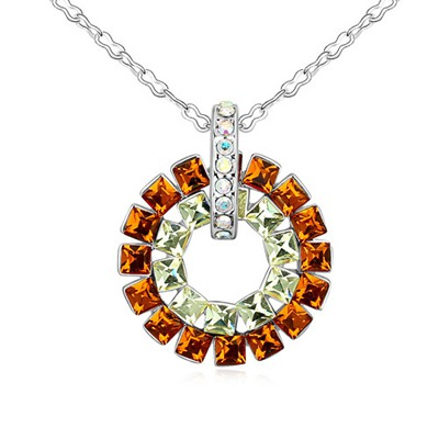 Healing Yellow Smoke Concentric Circles Pendant Design Austrian Crystal Crystal Necklaces