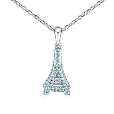 Promise Navy Blue Eiffel Tower Pendant Design Austrian Crystal Crystal Necklaces
