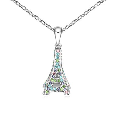 Indie Multicolor Eiffel Tower Pendant Design Austrian Crystal Crystal Necklaces