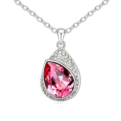 Hydraulic Plum Red Water Drop Shape With Diamond Pendant Design Austrian Crystal Crystal Necklaces