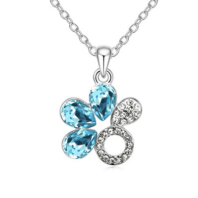 Turquoise Navy Blue Water Drop Shape Flower Design Austrian Crystal Crystal Necklaces