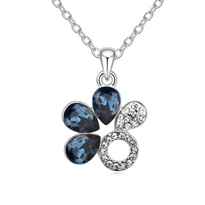 Hydraulic Ink Blue Water Drop Shape Flower Design Austrian Crystal Crystal Necklaces