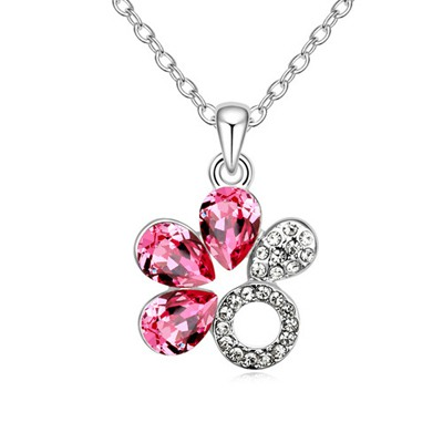 Korean Plum Red Water Drop Shape Flower Design Austrian Crystal Crystal Necklaces