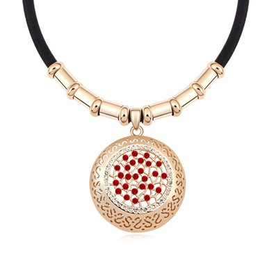Renaissanc Light Red&Champagne Gold Hollow Out Round Shape Design Austrian Crystal Crystal Necklaces
