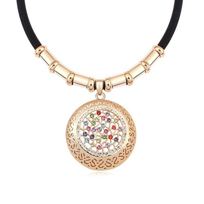 Writing Multicolor&Champagne Gold Hollow Out Round Shape Design Austrian Crystal Crystal Necklaces