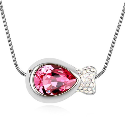 Mexican Plum Red Fish Shape Pendant Design Austrian Crystal Crystal Necklaces