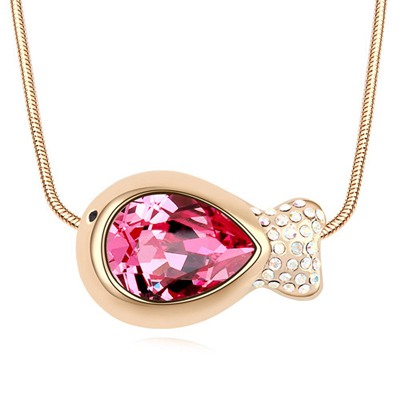 Light Plum Red&Champagne Gold Fish Shape Pendant Design Austrian Crystal Crystal Necklaces