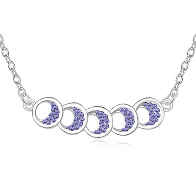 Extra Tanzanite Five Hollow Out Circle Decorated Design Austrian Crystal Crystal Necklaces