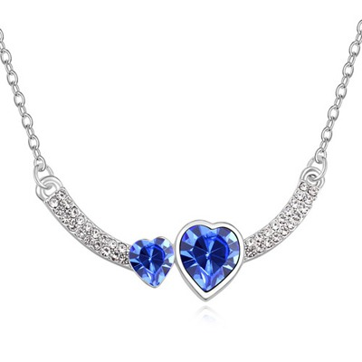 Stylish Blue Two Heart Shape Design Austrian Crystal Crystal Necklaces