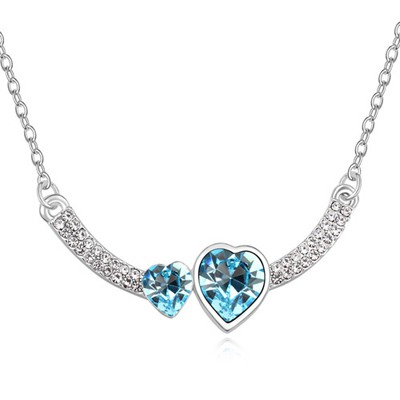 Engraved Navy Blue Two Heart Shape Design Austrian Crystal Crystal Necklaces