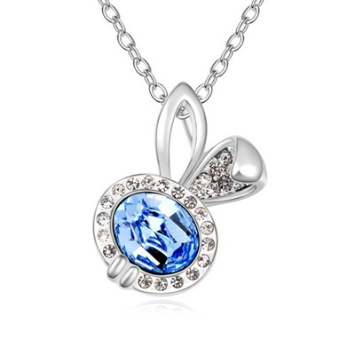 Oversized Light Blue Lovely Rabbit Pendant Design Austrian Crystal Crystal Necklaces