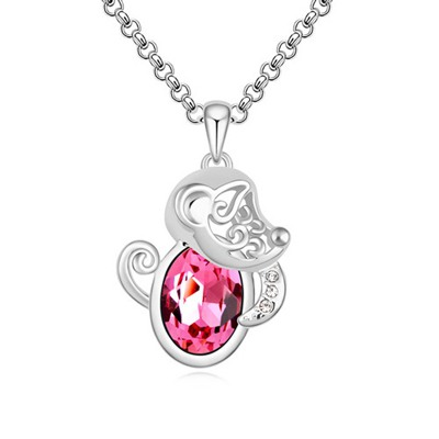 Glam Plum Red Little Monkey Pendant Design Austrian Crystal Crystal Necklaces