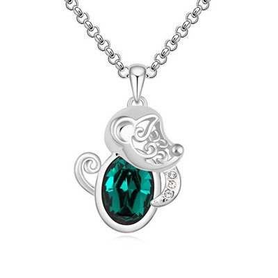 Native Green Little Monkey Pendant Design Austrian Crystal Crystal Necklaces