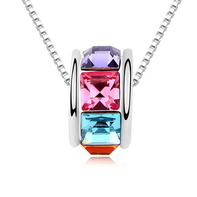 18K Multicolor Implied Meaning Return Of Love Austrian Crystal Crystal Necklaces