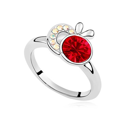 Ferret Light Red Apple Shape Decorated Austrian Crystal Crystal Rings