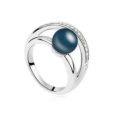 Fit Dark Blue Simple Design Pearl Crystal Rings