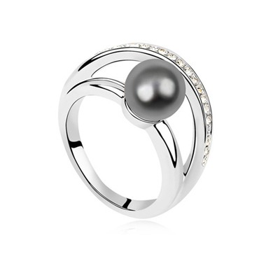 Travel Dark Gray Simple Design Pearl Crystal Rings