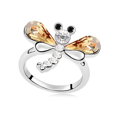 Fall Gold Color Flying Dragonfly Decorated Design Austrian Crystal Crystal Rings