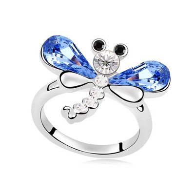 Ethnic Light Blue Flying Dragonfly Decorated Design Austrian Crystal Crystal Rings