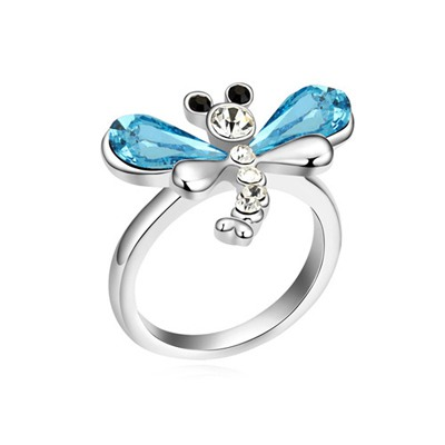 Initial Navy Blue Flying Dragonfly Decorated Design Austrian Crystal Crystal Rings