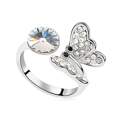 Rent White Full Of Diamond Butterfly Decorated Austrian Crystal Crystal Rings