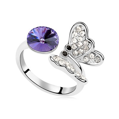 Greek Tanzanite Full Of Diamond Butterfly Decorated Austrian Crystal Crystal Rings
