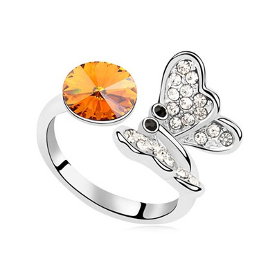 Diabetic Yellow Full Of Diamond Butterfly Decorated Austrian Crystal Crystal Rings