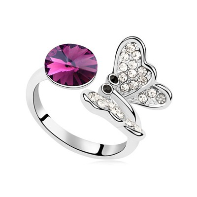 Street Purple Full Of Diamond Butterfly Decorated Austrian Crystal Crystal Rings