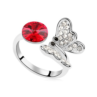 Real Light Red Full Of Diamond Butterfly Decorated Austrian Crystal Crystal Rings