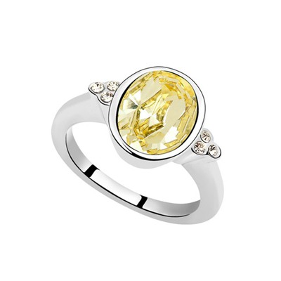 Cocktail Light Yellow Oval Shape Simple Design Austrian Crystal Crystal Rings