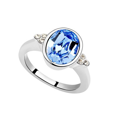 Oversized Light Blue Oval Shape Simple Design Austrian Crystal Crystal Rings