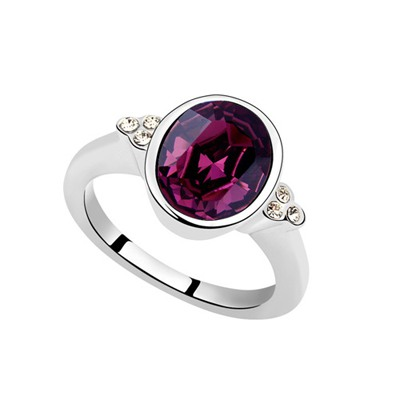 Bodybuildi Purple Oval Shape Simple Design Austrian Crystal Crystal Rings