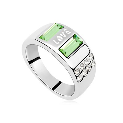 Milly Olive Square Shape Wide Design Austrian Crystal Crystal Rings