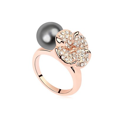 Ladies Dark Gray&Champagne Gold Flower Decorated Design Pearl Crystal Rings