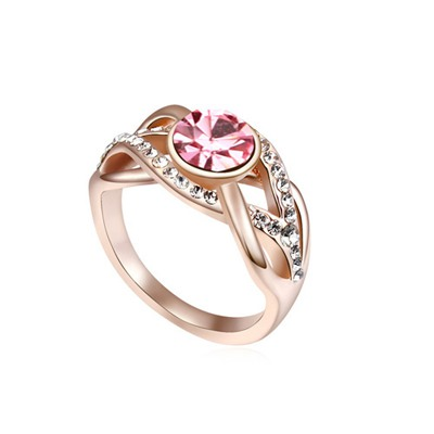 Crucifix Light Plum Red&Champagne Gold Hemp Flowers Shape Design Austrian Crystal Crystal Rings