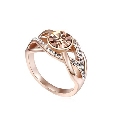 Named Light Peach&Champagne Gold Hemp Flowers Shape Design Austrian Crystal Crystal Rings