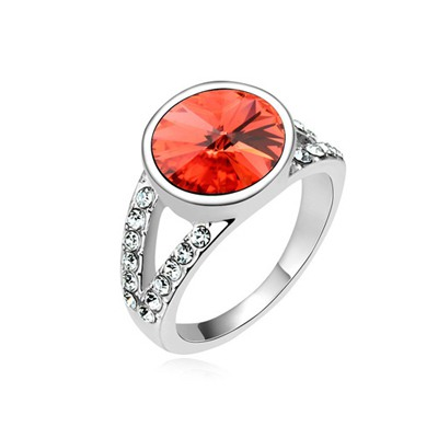 Authentic Padparadscha Round Shape Simple Design Austrian Crystal Crystal Rings