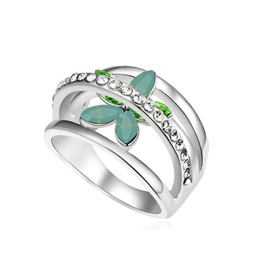 Teen Green Flower Decorated Hollow Out Design Austrian Crystal Crystal Rings