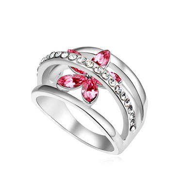 Catholic Plum Red Flower Decorated Hollow Out Design Austrian Crystal Crystal Rings