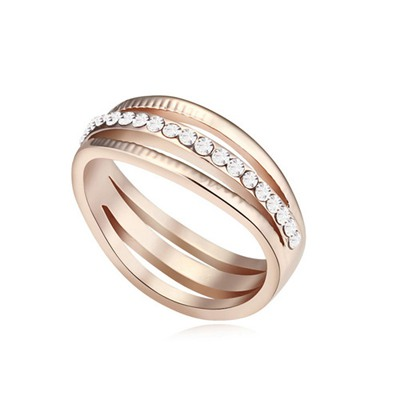 Womens White&Rose Gold Diamond Decorated Hollow Out Design Austrian Crystal Crystal Rings
