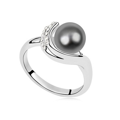 Cute Dark Gray Pearl Diamond Decorated Pearl Crystal Rings