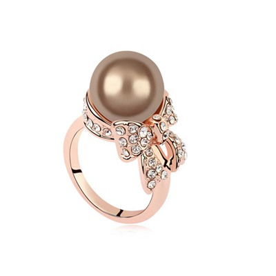 Brown Antique Copper&Rose Gold Pearl Bowknot Decorated Design Pearl Crystal Rings